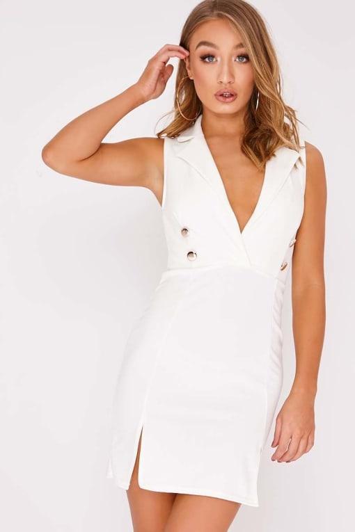 DOLY WHITE SLEEVELESS BLAZER DRESS