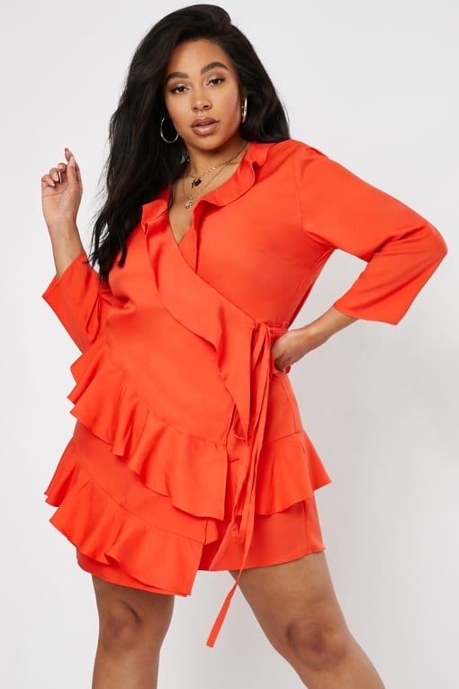 CURVE EMILY ATACK RED CROPPED SLEEVE FRILL LAYER DRESS