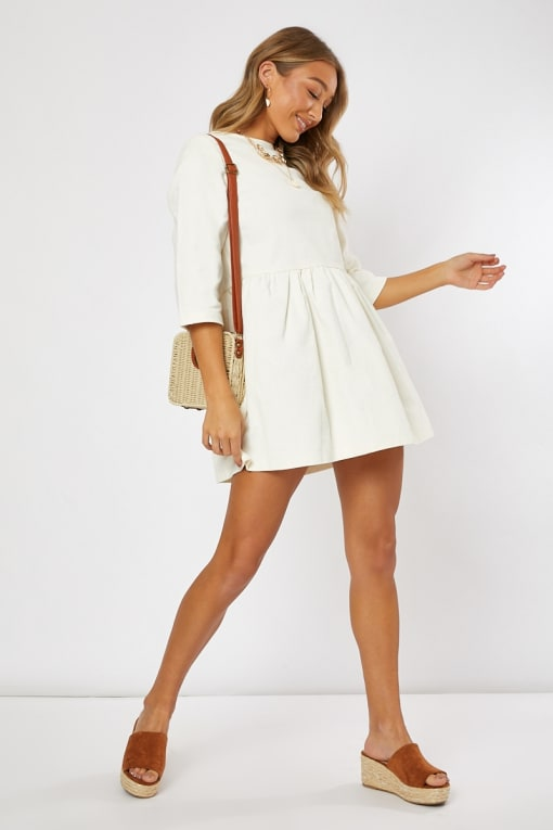 ADDILYNE IVORY CORD SMOCK MINI DRESS
