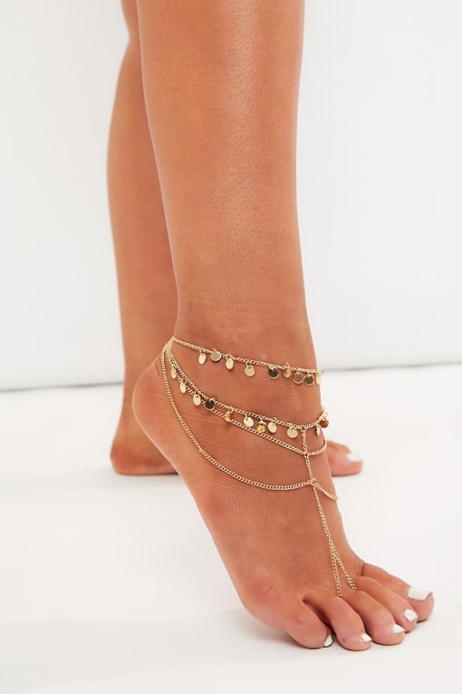 GOLD FOOT HARNESS ANKLET