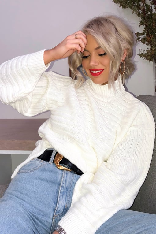 LAURA JADE CREAM HIGH NECK KNITTED RIB JUMPER