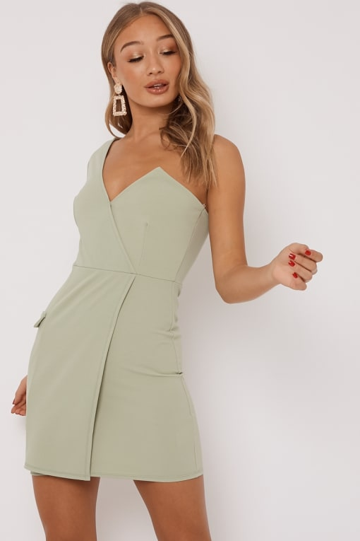 DELLA SAGE ONE SHOULDER TUX DRESS
