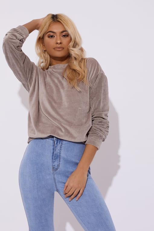 OLISSA  GREY TEDDY VELOUR SWEATER