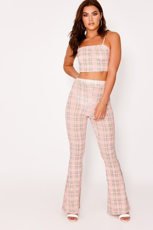 JAMIE LEE PINK CHECK FLARE TROUSERS
