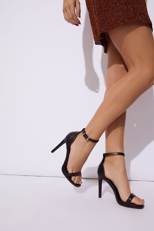 MARNEY BLACK PU ANKLE STRAP BARELY THERE HEELS