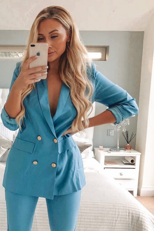 SARAH ASHCROFT BLUE DOUBLE BREASTED BLAZER