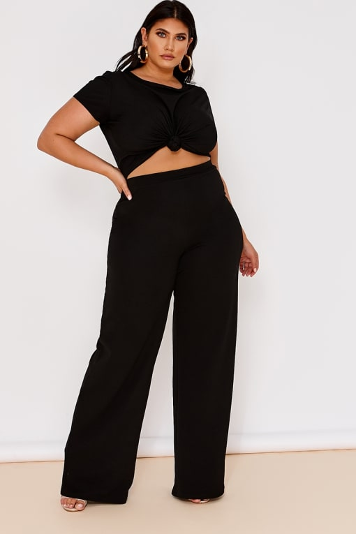 CURVE LATECIA BLACK CREPE WIDE LEG TROUSERS
