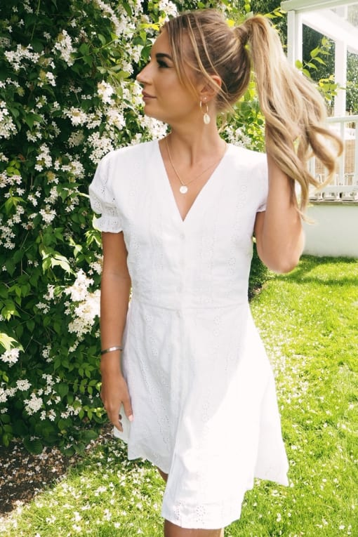 DANI DYER WHITE BRODERIE ANGLAISE BUTTON DOWN DRESS