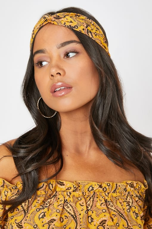 DANI DYER YELLOW PAISLEY HEADBAND
