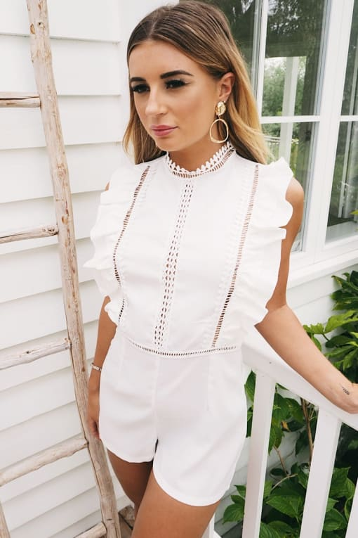 DANI DYER WHITE LACE INSERT FRILL PLAYSUIT