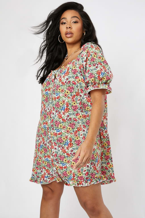 CURVE EMILY ATACK WHITE FLORAL PUFF SLEEVE BUTTON DOWN DRESS