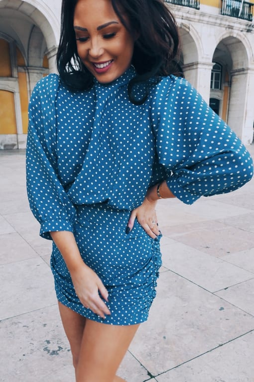 LORNA LUXE 'DON'T SPEAK' POLKA DOT BLUE MINI DRESS