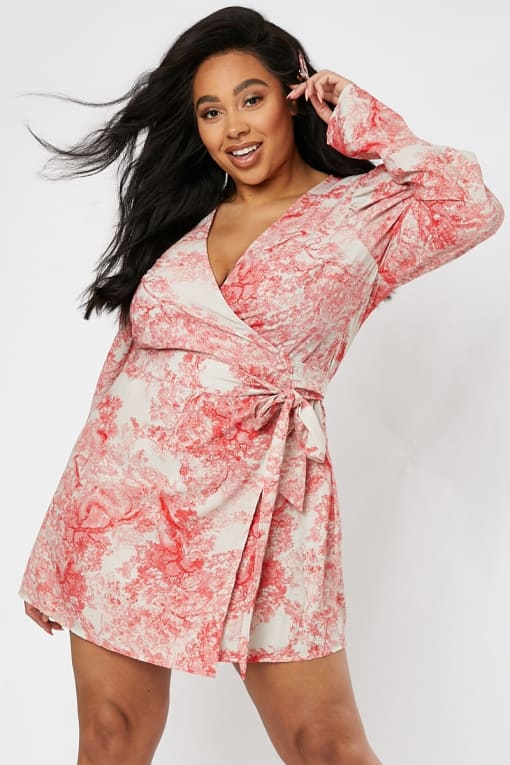 CURVE LORNA LUXE 'LOVE AFFAIR IMPOSSIBLY PERFECT' PINK PUFF SLEEVE WRAP FRONT MINI DRESS