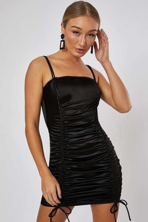 ROMEE BLACK SATIN RUCHED TIE MINI DRESS
