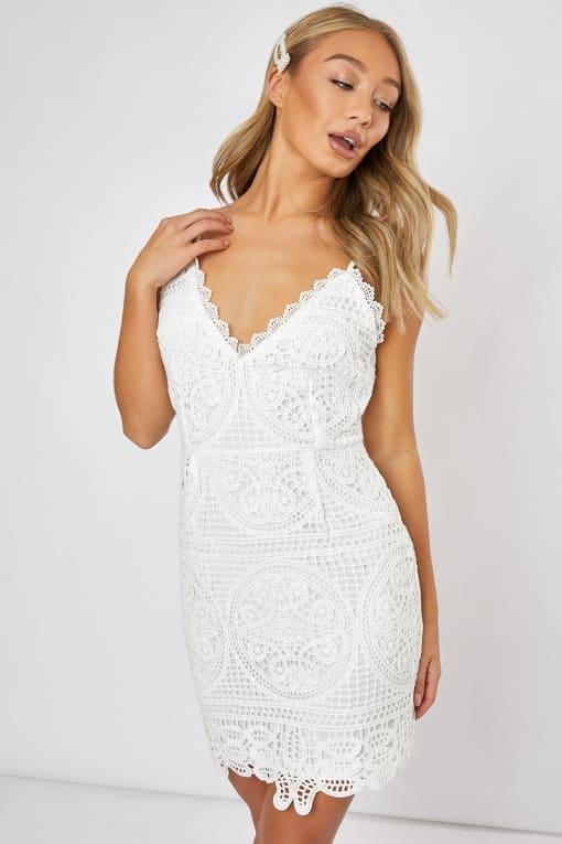 DONATTA WHITE CROCHET LACE CAMI DRESS