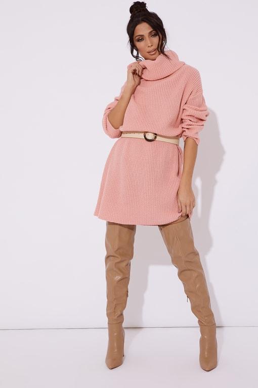 TINA PINK ROLL NECK KNITTED JUMPER DRESS