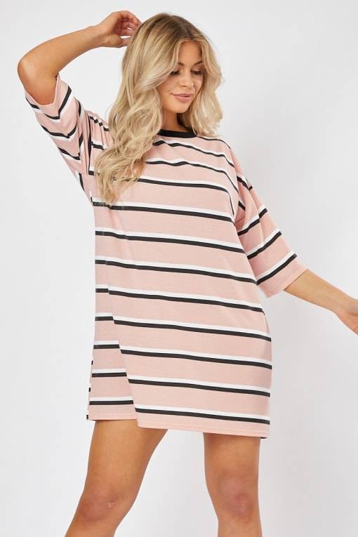 RUBENA PINK STRIPE T SHIRT DRESS