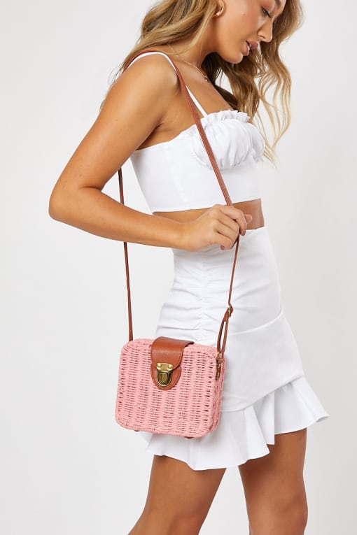 PINK WICKER CROSS BODY BAG