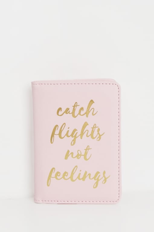 COCONUT LANE PINK CATCH FLIGHTS NOT FEELINGS PASSPORT COVER
