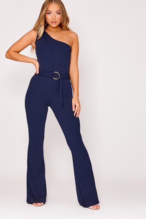 91275db36fa87f Billie Faiers Navy Tie Front Polka Dot Jumpsuit | In The Style