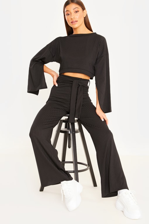 KATHERINA BLACK FLARED SLEEVE CROP TOP AND TIE WAIST JOGGERS
