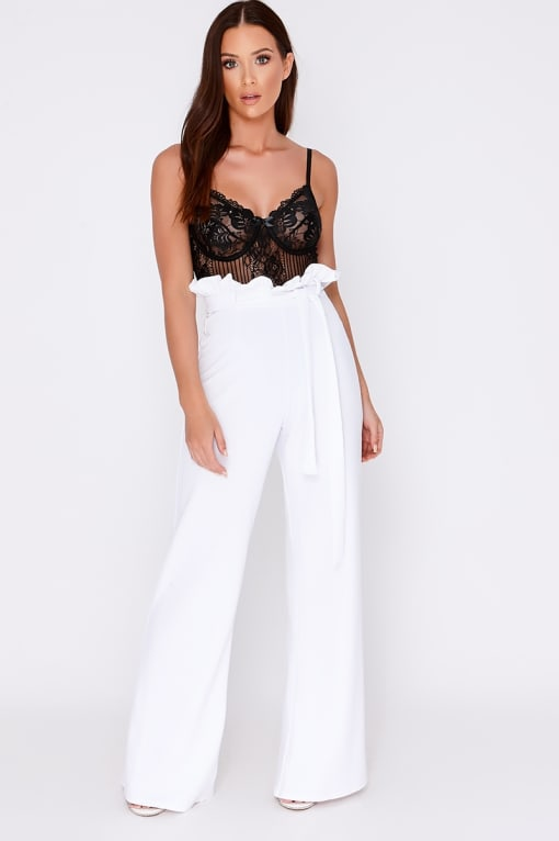 YAKAH WHITE FLARED HIGH WAISTED PAPERBAG TROUSERS