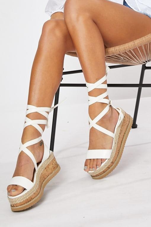 SELBY WHITE TIE LEG PLATFORM ESPADRILLES
