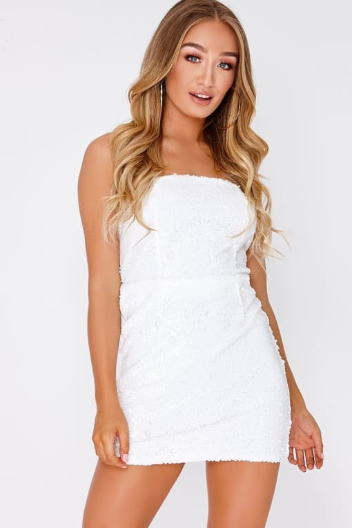 ODA WHITE SEQUIN BANDEAU MINI DRESS