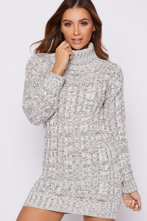 HAILLEE GREY FLECKED CABLE KNIT ROLL NECK JUMPER DRESS
