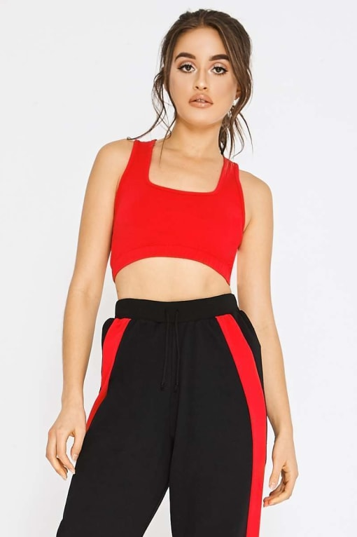 PIA MIA BASIC RED RACER BACK SPORTS CROP TOP