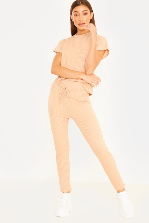 CHARMAINE CAMEL RIBBED T SHIRT AND JOGGERS