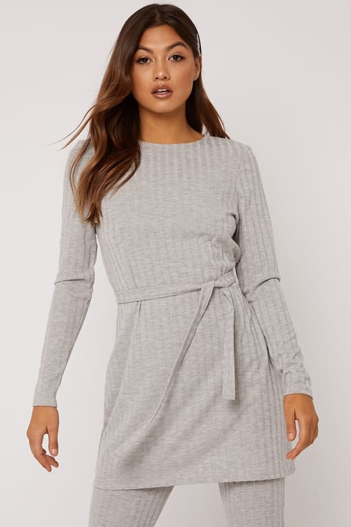 LINELLE GREY MARL RIBBED LONGLINE TOP CO-ORD