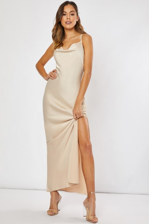 WAVERLY GOLD SATIN COWL NECK CROSS BACK MAXI DRESS
