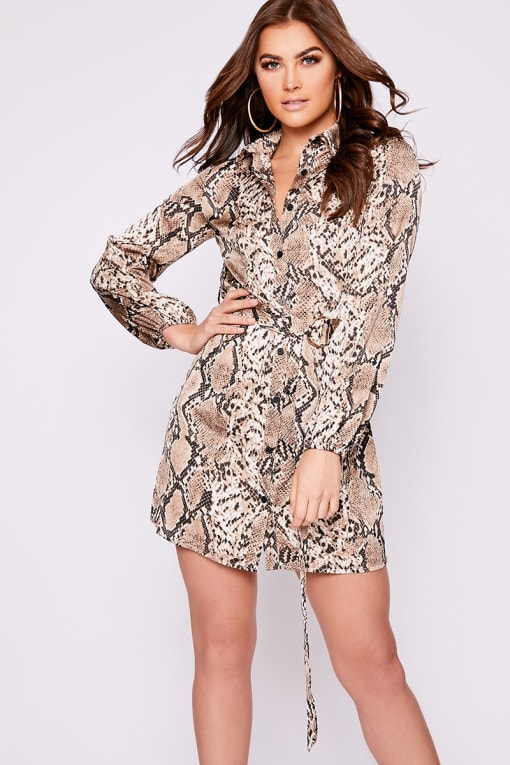 RUBEY BROWN SNAKESKIN BELTED SHIRT DRESS