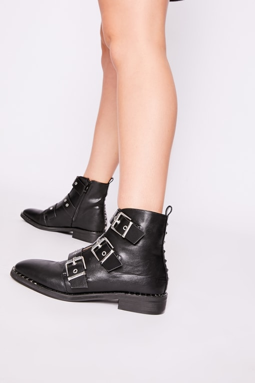 SISILA BLACK FAUX LEATHER BUCKLE DETAIL ANKLE BOOTS