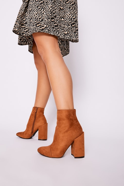 SILIA TAN FAUX SUEDE ROUND TOE HEELED ANKLE BOOTS