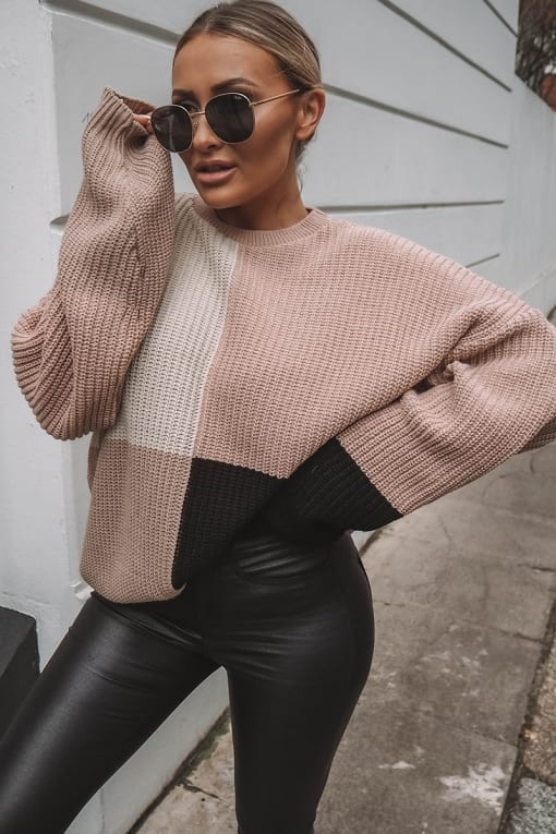 FRANCES NUDE MULTI COLOUR BLOCK OVERSIZED KNITTED JUMPER