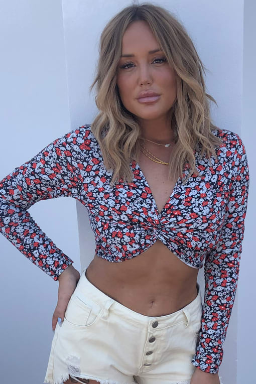 CHARLOTTE CROSBY BLUE FLORAL PRINT TWIST FRONT TOP