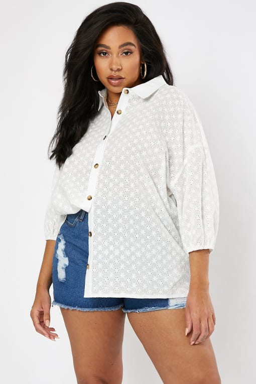 CURVE DANI DYER WHITE BRODERIE ANGLAISE TORT BUTTON SHIRT