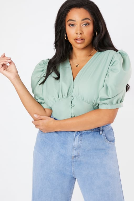 CURVE LAURA JADE GREEN PLEATED PUFF SLEEVE BLOUSE