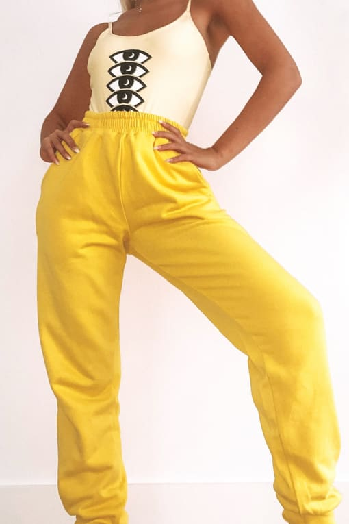 LOTTIE TOMLINSON YELLOW HIGH WAISTED JOGGERS