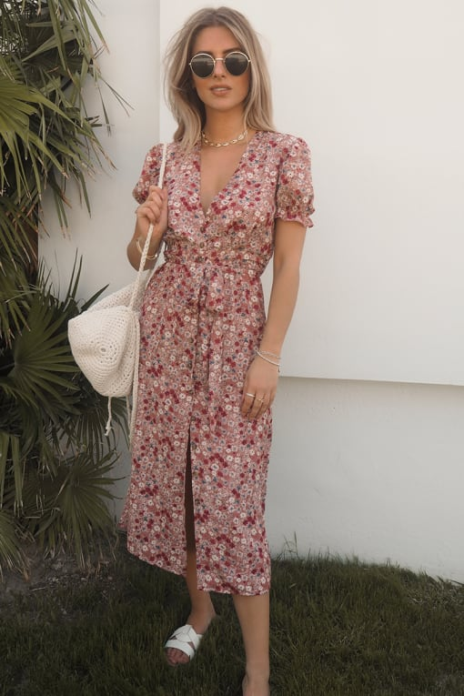 FASHION INFLUX BLUSH FLORAL PUFF SLEEVE TIE WAIST MIDI DRESS