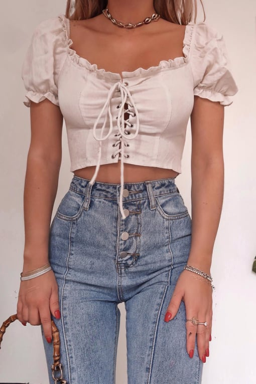FASHION INFLUX CREAM LACE UP PUFF SLEEVE TOP