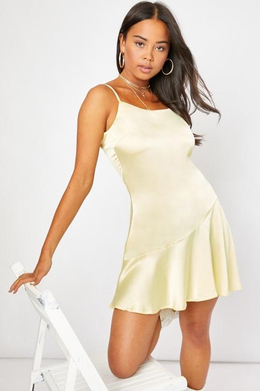 DONDA LEMON SATIN FLIPPY MINI DRESS