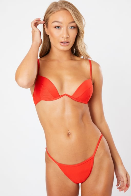 ARELIE RED RIBBED UNDERWIRED V DETAIL BIKINI SET