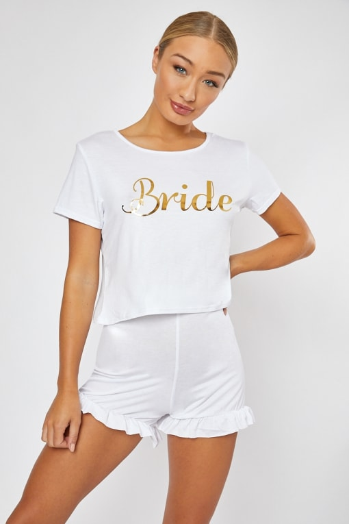 BRIDE SLOGAN WHITE PJ SHORTS AND TSHIRT SET