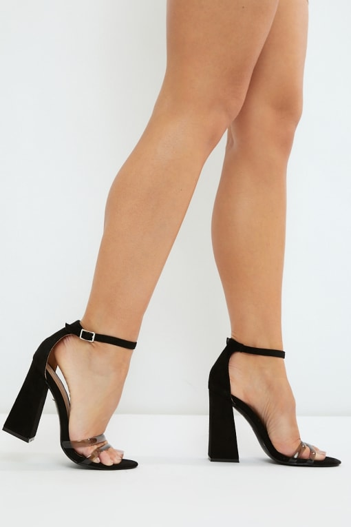NILINI BLACK CLEAR STRAP BLOCK HEELS