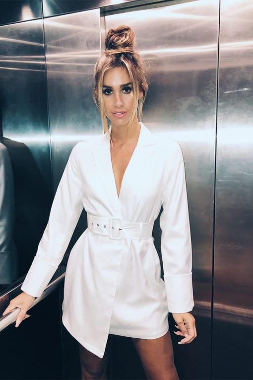 EMILY SHAK WHITE EXTREME CUFF BELTED BLAZER DRESS
