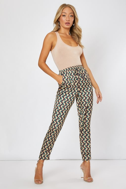 SCOUT GREEN GEO PRINT CO-ORD TROUSERS