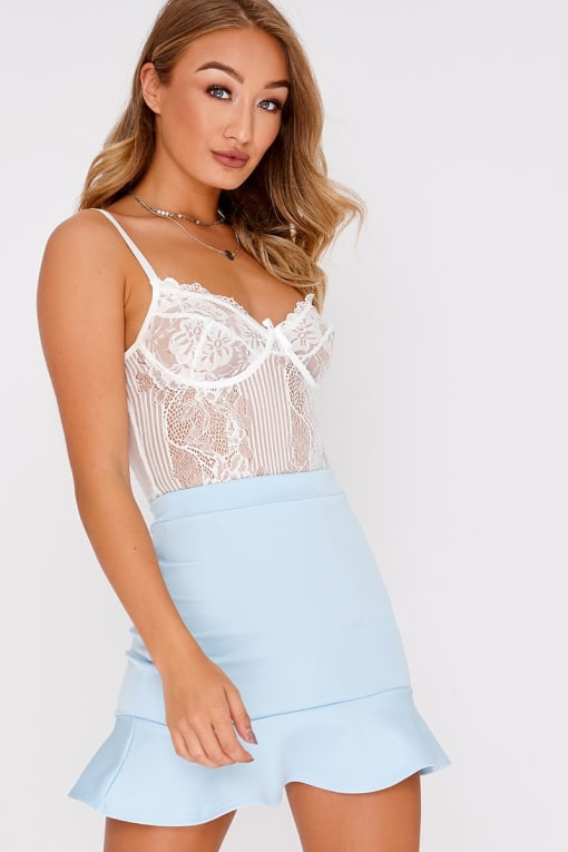 KAELLE BABY BLUE FRILL HEM MINI SKIRT